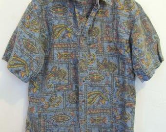 A Mens Vintage 80's Groovy,Blue Short Sleeve Hawaiian PAISLEY Print Type Shirt By BUGLE B0Y.M