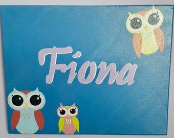 Owl Name/Birthday Painting