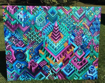 HUGE isometric painting! 5'x4' acrylic on canvas