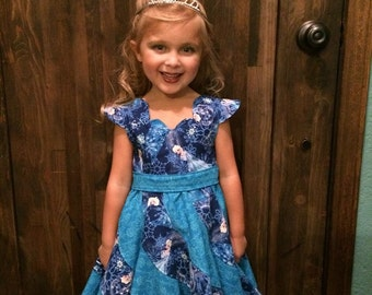 Sizes 6m-10   Disney Theme Frozen Elsa Custom Boutique Pageant Twirl Dress, Handmade