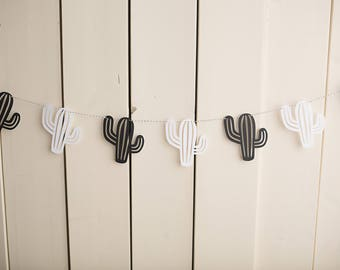 Cactus Garland - Monochrome - Bunting - Photography Prop - Black & White - Wall Hanging - Kids Room - Banner - Green Cacti