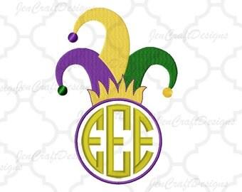 Jester Hat Embroidery Design PES Mardi Gras Monogram Frame Instant Download digital file in EXP, HUS, Jef, Pes, Vip and Xxx