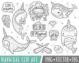 Doodle Narwhal Clipart Images, Magical Narwhal Clip Art, Magical Clipart, Whimsical Clip Art, Narwhal Digital Stamps, Narwhal Drawings