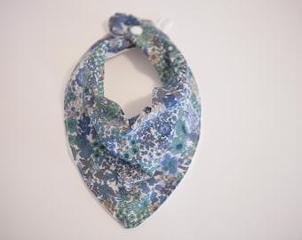 Bandanna Bib - Vintage Blue Flowers
