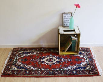 Great vintage Persian carpet. hand knotted? Red Oriental dressing/prayer mat