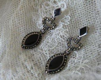 Vintage Silver earrings Black Onyx Markasiten