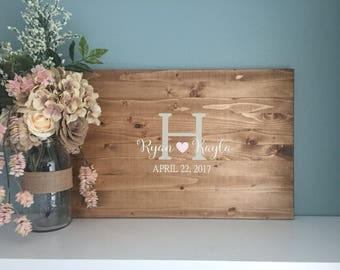 Rustic Wedding Guest Book Alternative /Original Heart & Initial Design/ Painted Rustic Wedding Decor Wood Guest Book Country Wedding Gift
