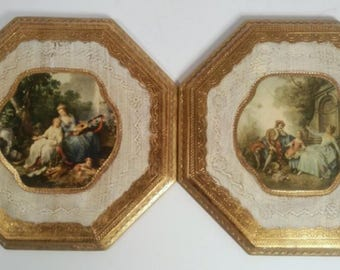 Set of 2 Vintage Wooden Italian Wall Plaques