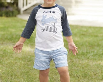 Boy's Easter Bunny Shirt ~ Monogrammed Easter Shirt ~ Mud Pie Easter