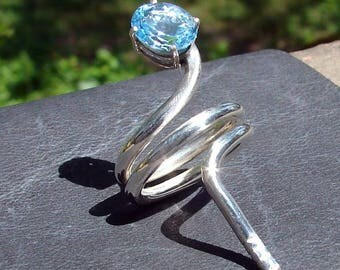 Blue Topaz Baby Snake Ring