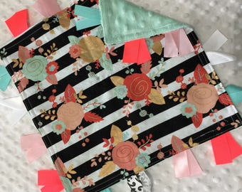 Personalized Tag Blanket Sensory Ribbon Blanket Lovey- Mint and Coral Roses with Stripes with Minky Dot