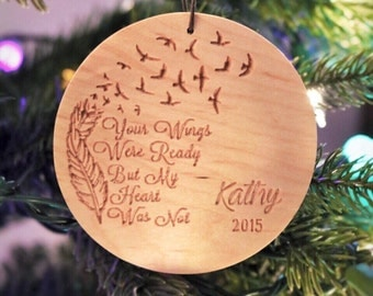 Carved Maple Christmas Ornament// Handmade Ornament // Your Wings Were Ready Ornament