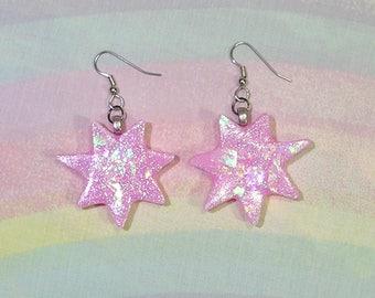 Jem Earrings, Jem Costume, Jem and the Holograms, 80s Nostalgia, Fairy Kei Earrings, Fairy Star Earrings, Pop Kei Earrings, Pastel Earrings