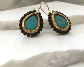 Jana - Turquoise with Jet Black Beads and 22k Gold Plated Teardrop Earrings