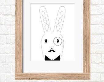 A4 dapper rabbit monochrome print