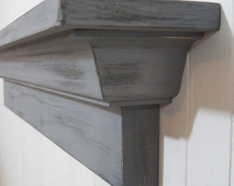 Distressed Shabby Wall Shelf, Distressed Mantle, Floating Wall Shelf, Fireplace Mantel, Floating Shelf, Fireplace Mantle, Housewarming gift