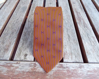 Hermes Tie Vintage 80s Silk 100% Orange Blue Stripes