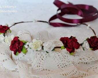 Bridal floral crown Wedding flower crown Flower headband Bridal headband Burgundy flower crown Flower wreath Flower crown Girl flower LV12