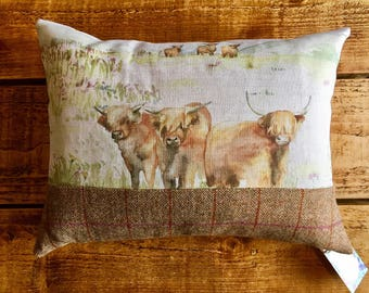 Highland Cow and Wool Cushion Cover