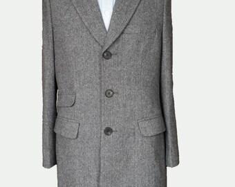 Men's Gray Custom Coat / Custom Coat/ Mens Long Coat / Mens Winter Coat / Wool Coat / Tailor Made