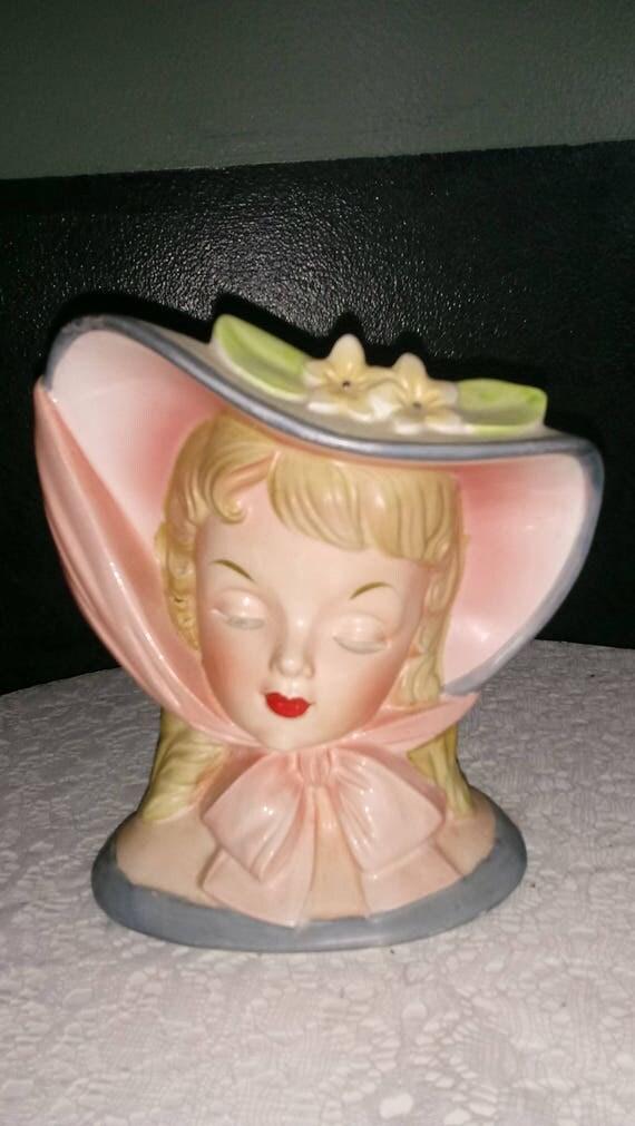 """Vintage Napco Headvase C3812A Peach & Gray Bonnet Hat """"1959"""""""