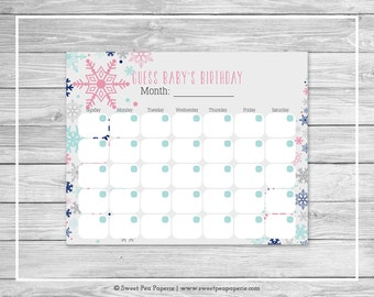 Winter Baby Shower Guess Baby's Birthday - Printable Baby Shower Guess Baby's Birthday - Baby It's Cold Outside Baby Shower - SP141