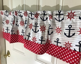 Navy blue anchor striped nautical valance with red polka dot border