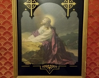 Vintage Framed Art Deco Reverse Painted Glass Matted Picture Jesus in the Garden Print Deltex Products Brooklyn New York Patent May 16, 1933