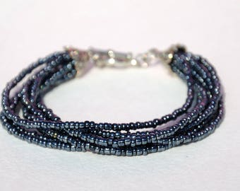 Dark bracelet Beaded bracelet Multi Strand bracelet Bead bracelet Everyday jewelry Beaded jewelry Girlfriend gift for Womens Gift for her