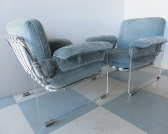 Pair Of Italian Mid-Century Modern, Lucite And Chrome Floating Lounge Chairs For The Pace Collection.