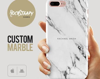 Custom Name Marble Phone case, personalised marble iPhone 6s case, 7, 6 Plus, samsung S8, 5S, SE case, personalized Galaxy S6, S7, S5 cover