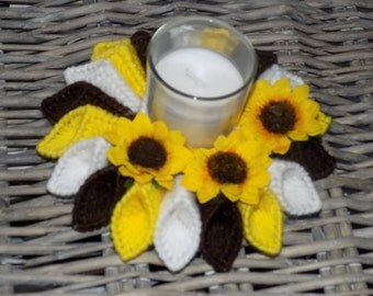 brown,yellow and white candle holder