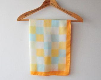 vintage silk shawl, pastel checked shawl,retro blue and yellow shawl, retro fashion
