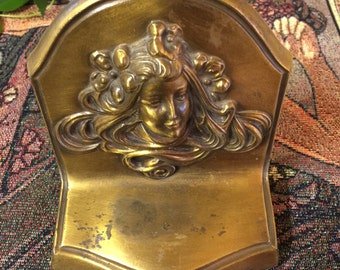 Antique Art Nouveau Brass Bookend