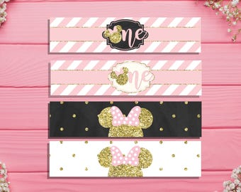 Printable Minnie Mouse Water Bottle Labels Minnie Mouse 1st First birthday party decorations Pink and gold birthday decorations MInnie mouse