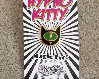 Color Chaging Enamel Pin. Hypno Kitty Lapel Pin. Hard Enamel Pin.