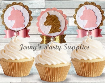 Set of 12 Glitter Unicorn Toppers, Pink and Gold Unicorn Cupcake Toppers, Glitter Gold Unicorn Cupcake Picks