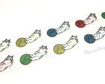 Papier Platz mogerin - Cat loves yarn washi tape (T00874)