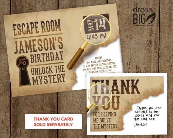 escape room invite boys or girls birthday by