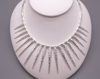 """Handmade Bohemian Silver Icicle Spike Moveable Link Chain Adjustable Necklace 16"""" to 18"""""""