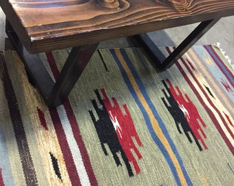 Native American Rug with Geometric Pattern in Moss