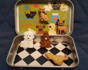 Perfect for the animal lover in your life, Altoids tin, pocket toy, Pocket Pet Shop with magnetic dogs and cats