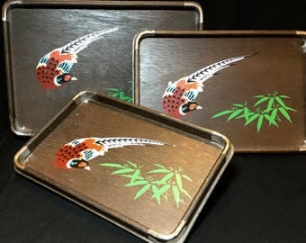 Wood Nesting Trays with Bird and Bamboo Leaf Design Made in Japan