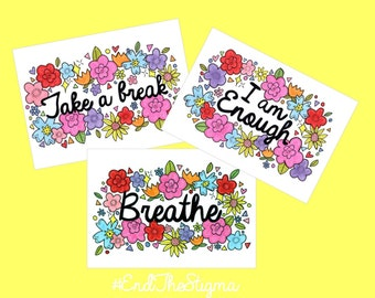 Mental Health Awarenes A5 prints! 3 Designs! *All 3 available at a special price on a seperate listing