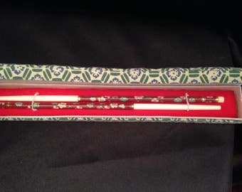 Cloisonne Chopsticks In A Multi Floral Design InFabric Box/Vintage Floral Cloisonne Chopsticks/Vintage Chinese Cloisonne & Bone Chopsticks