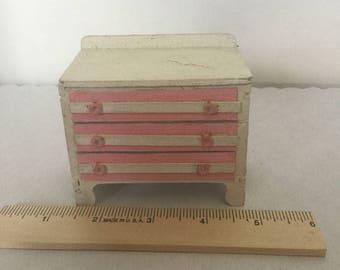 Dollhouse furniture miniature vintage white dresser
