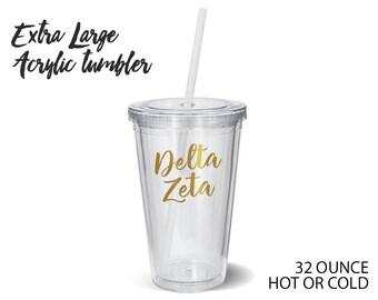 DZ Delta Zeta Metallic Gold XL Tumbler Sorority Gift Sorority Tumbler
