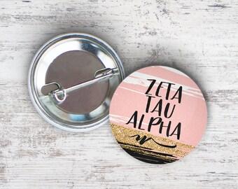 "ZTA Zeta Tau Alpha Rose Gold Black Single or Bulk 2.25"" Pinback Button"