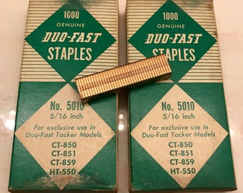 """2 Full Boxes of 1000 Vintage Copper Duo Fast No. 5010 5/16"""" CT-850 CT-851 Ct-859 HT-550 Tacker Staples"""