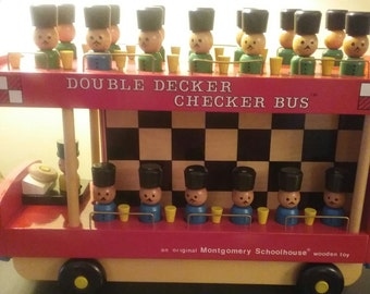 Double Decker Checker Bus by Montgomery Schoolhouse  Toys